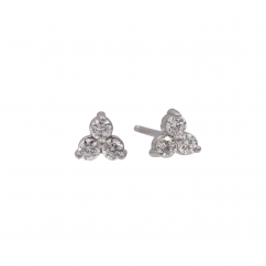 14k White Gold and Diamond Cluster Stud Earrings