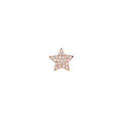 14k Rose Gold Mini Diamond Star Stud Earring