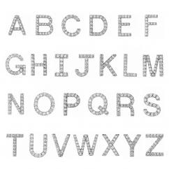 14k White Gold and Diamond Mini Letter Stud Earrings
