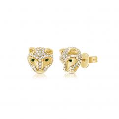 14k Yellow Gold and Diamond Tiger Head Earrings