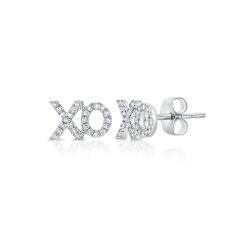 14k White Gold and Diamond XO Stud Earrings