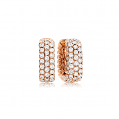 Mercer Three Row 18k Rose Gold and Diamond Hoop Earrings