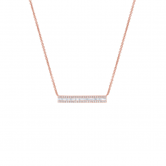 14k Rose Gold Baguette and Round Diamond Pendant