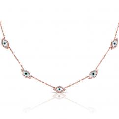 14k Rose Gold and Diamond Evil Eye Station Necklace
