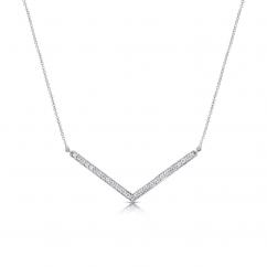 14k White Gold and Diamond Chevron Necklace