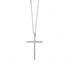 Classic 14k White Gold Diamond Cross Pendant