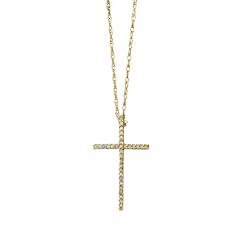 Classic 14k Gold Diamond Cross Necklace