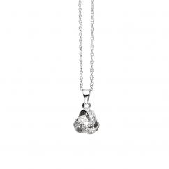 Classic 14k Gold Diamond Love Knot Pendant