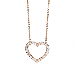 Classic 18k Rose Gold and 1.00ct Diamond Heart Pendant