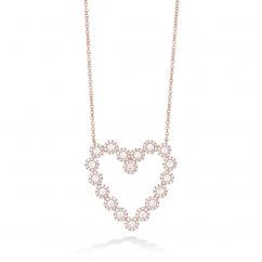 14k Rose Gold and Diamond Open Heart Pendant