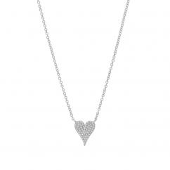 14k White Gold and .11 ct Diamond Heart Pendant