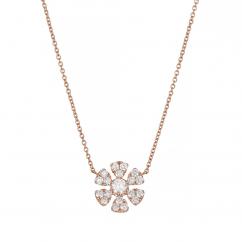 Fleur 18k Rose Gold and .43TW Diamond Pendant