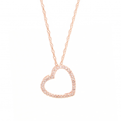 Classic 14k Rose Gold and Diamond Heart Pendant