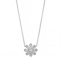 Fleur 18k White Gold and .52TW Diamond Pendant