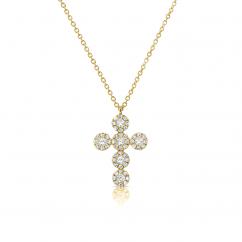 14k Yellow Gold and Diamond Halo Cross Pendant