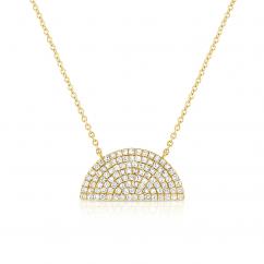 14k Yellow Gold and Diamond Dome Pendant