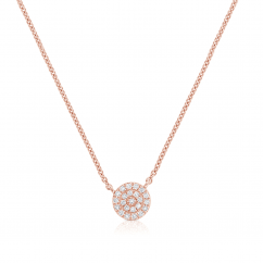 14k Rose Gold and Diamond Circle Disc Pendant