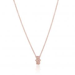 18k Rose Gold and Diamond Hamsa Pendant