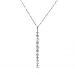 18k White Gold and Diamond Linear Pendant