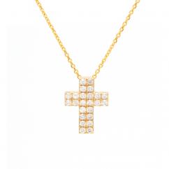 14k Yellow Gold and Two Row Diamond Cross Pendant