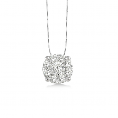 14k White Gold and Diamond .25CT Cluster Pendant