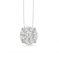 14k White Gold and Diamond .35CT Cluster Pendant