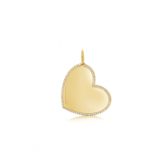 14k Yellow Gold Medium Diamond Heart Charm