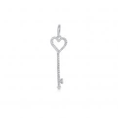 14k White Gold and Diamond Key Charm