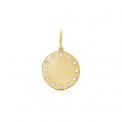 14k Yellow Gold and Diamond Disc Charm