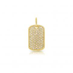 14k Yellow Gold and Pave Diamond Dog Tag Charm