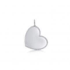 14k White Gold Heart Diamond Charm