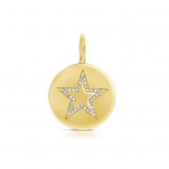 14k Yellow Gold Disc Diamond Star Charm