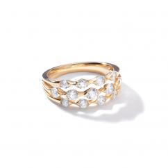 Wave 18k Yellow Gold Three Row Diamond Ring