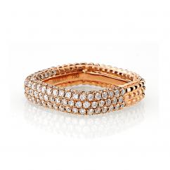 Mercer Three Row 18k Rose Gold and Diamond Ring