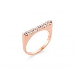 Barbela Design 14k Rose Gold and Diamond Bar Ring