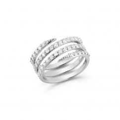 Barbela Design 14k Gold and Diamond Coil Ring