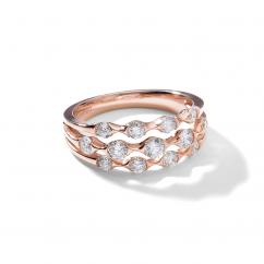 Wave 18k Rose Gold Three Row Diamond Ring