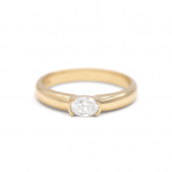 18k Yellow Gold and .33CT Oval Cut Diamond Ring