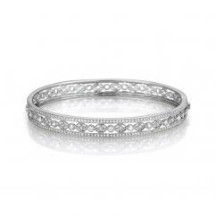 Heritage 18k White Gold and Diamond Bangle