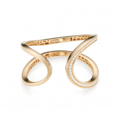 18k Yellow Gold and Diamond Cuff Bracelet