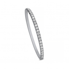 Classic 18k White Gold and 3 ct Diamond Bangle Bracelet