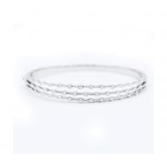 Wave 18k White Gold and Diamond 3 Row Bracelet