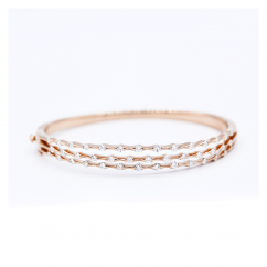 Wave 18k Rose Gold and Diamond 3 Row Bracelet