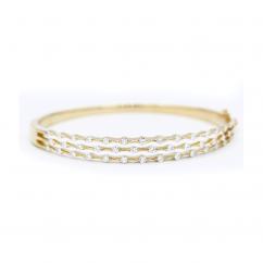 Wave 18k Yellow Gold and Diamond 3 Row Bracelet