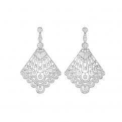Heritage 18k White Gold and Diamond Fan Earrings