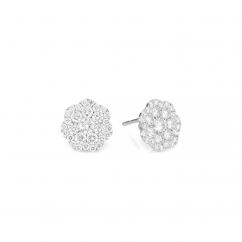 Celestial 14k White Gold and Diamond Stud Earrings