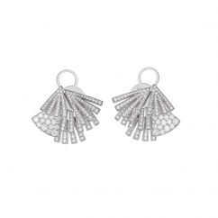 18k White Gold and Diamond Fan Design Earrings