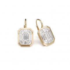 "18k Yellow Gold ""8 Carat Look"" Diamond Drop Earrings"