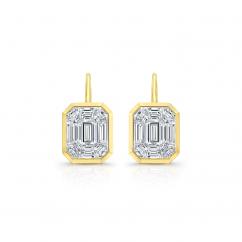"18k Yellow Gold ""5 Carat Look"" Diamond Drop Earrings"