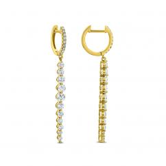 18k Yellow Gold and Diamond Linear Drop Earrings